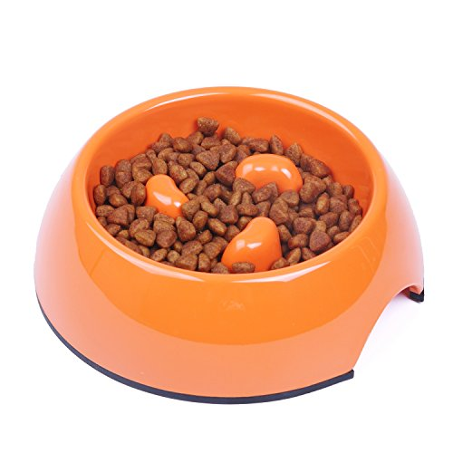 SUPER DESIGN Heavy Duty Melamine Non-skid Slow Feed Pet Bowl For Dogs and Cats M Orange