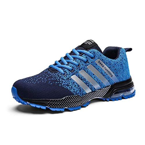 Kundork Mens Running Shoes Air Cushion Trail Fashion Sneakers Lightweight Tennis Sport Casual Walking Athletic for Men Outdoor Blue45