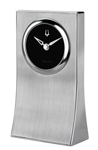 Tone Table Clock (Bulova Obelisk Desk Clock, Silver/Tone)