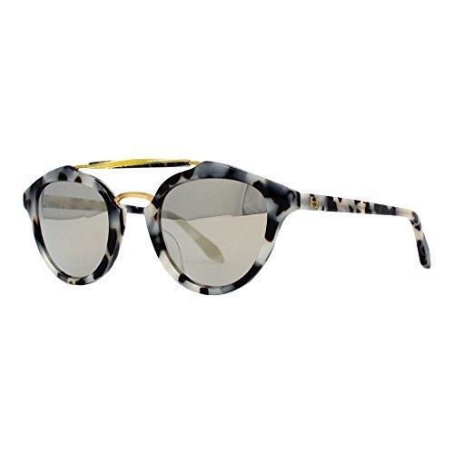 Orange Hudson Sunglasses Classic Crystal Tortoise Acetate Frame and Legs with Silver Mirror Lenses 100% UV Block - Tasmania -