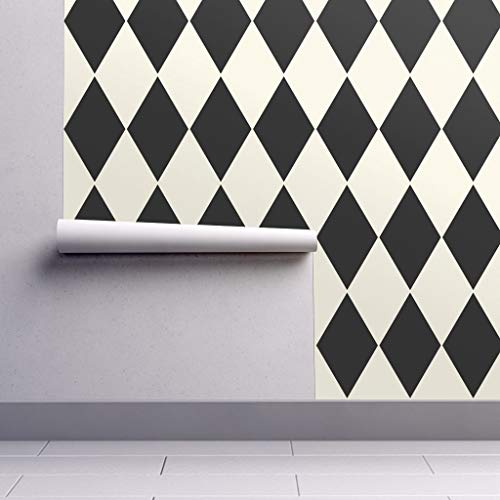 Large Harlequin Wallpaper - Peel-and-Stick Removable Wallpaper - Harlequin Check Harlequin Diamonds Cosmic Latte Black Ecru Geometric by Peacoquettedesigns - 24in x 60in Woven Textured Peel-and-Stick Removable Wallpaper Roll
