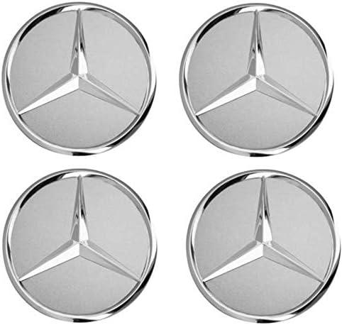 Sconosciuto Generic 4 Pezzi 75mm Nero Ricambio Mozzo Copricerchi Copricerchi per Mercedes Benz Cerchioni Copricerchi Coprimozzo Coprimozzo Wheel Caps