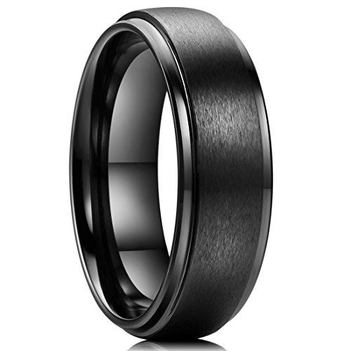 Black Ceramic Wedding Ring Matte Finished Surface Step Edge Comfort-fit 8.5 (Black Ceramic Comfort Fit Ring)