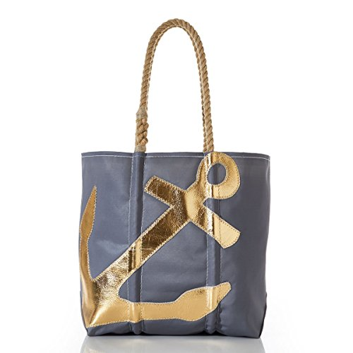 Sea Bags Recycled Sail Cloth Gold-on-Grey Anchor Tote made in Maine