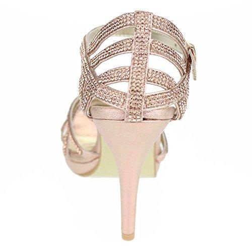 Aarz Mujeres del partido de tarde de las señoras de baile de la boda del alto talón de Diamante de la sandalia nupcial tamaño de los zapatos (Oro, Plata, Negro, Champagne, Rojo) Champagne