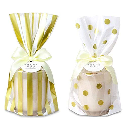 Clear Cello Bags Gold Polka Dot Striped Candy Bags Snack Wrapping Party Favor Bags For Birthday Christmas Baby Shower Wedding,10inch x 6inch x 2inch, Pack of 100 (Gold Dot&Striped) ()