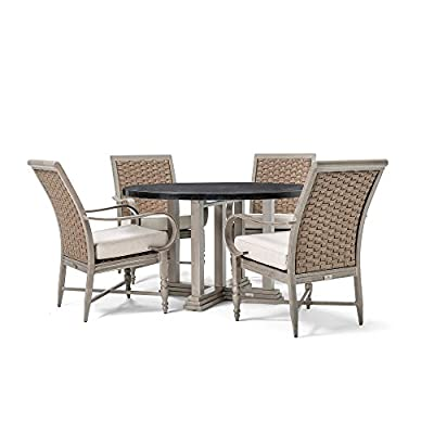 Blue Oak Outdoor Saylor Patio Furniture 5 Piece Dining Set (Round Aluminum Top Dining Table, 4 Stationary Dining Chairs) - Luxury Dining comfort: you and your party guests will dine in comfort while enjoying cocktails and great conversation. Ideal for patio, garden, deck, porch, fire pit, and poolside entertainment Trusted quality: beautiful and best quality outdoor patio furniture set made by the best known veterans in the patio set industry with dozens of years of experience and innovation Long lasting build: the rustproof aluminum table top is a statement piece for your outdoor space. The thick, rustproof aluminum gives it superior durability in the elements - patio-furniture, dining-sets-patio-funiture, patio - 41UdDhTKduL. SS400  -