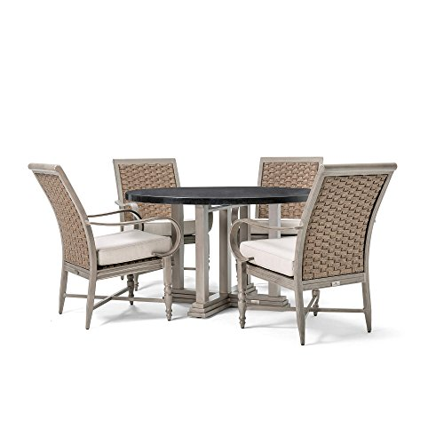 Blue Oak Outdoors Saylor Patio Furniture 5 Piece Dining Set (Round Natural Stone Top Dining Table, 4 Stationary Dining (Natural Stationary Sofa)