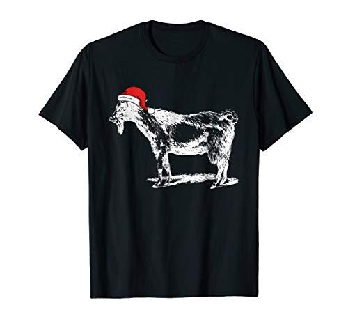 Goat in Santa Hat Christmas Pajama T-Shirt
