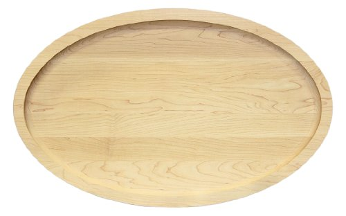 (BigWood Boards 420-NI Carving Board, Oval Trencher with Juice Well, Large Cutting Board with Juice Groove, Maple Wood Serving)