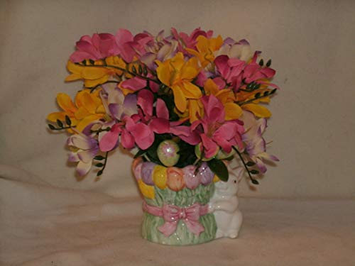 The Unique Gift Boutique-Freesia Easter Bunny Silk Cloth Floral Arrangement ()