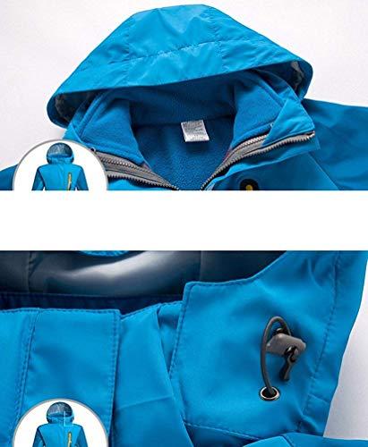 Zhrui Resistenti Teens Cappuccio Ragazzi Fluorescent Impermeabile Sapphire Dimensione Pile Giacca In colore Unisex Esterno Con 2 All'acqua Green Medium 1 Viaggio Softshell Giacche Da XqXxr60