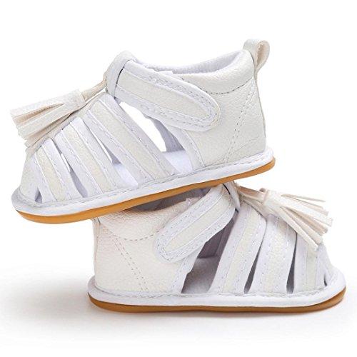 Clode® Kleinkind Sommer Mädchen Jungen Krippe Troddel Schuhe Weiche alleinige Neugeborene Anti-Rutsch Turnschuh Weiß