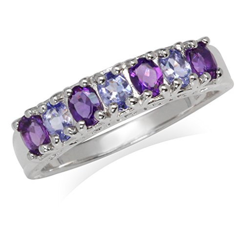 Genuine Tanzanite & African Amethyst White Gold Plated 925 Sterling Silver Journey Ring Size 8.5