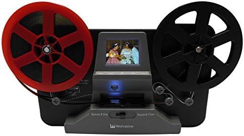 Wolverine 8mm and Super 8 Film Reel Converter Scanner to Convert Film into Digital Videos. Frame by Frame Scanning to Convert 3 inch and 5 inch 8mm Super 8 Film reels into 720P Digital