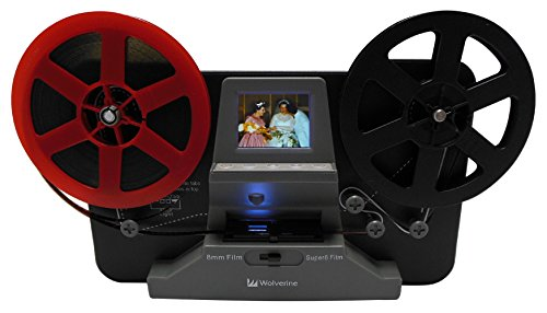 (Wolverine 8mm and Super 8 Film Reel Converter Scanner to Convert Film into Digital Videos. Frame by Frame Scanning to Convert 3 inch and 5 inch 8mm Super 8 Film reels into 720P Digital)