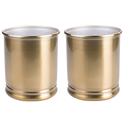 Kids Wastebaskets (mDesign Round Metal Small Trash Can Wastebasket, Garbage Container Bin for Bathrooms, Powder Rooms, Kitchens, Home Offices - Pack of 2, Durable Steel Construction with a Soft Brass Finish)