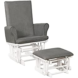 Naomi Home Mateo Wood & Upholstered Glider and Ottoman Set White/Gray
