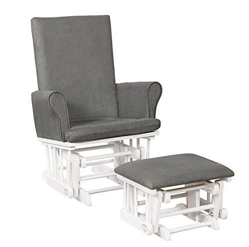 Naomi Home Mateo Wood & Upholstered Glider and Ottoman Set White/Gray
