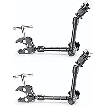 "Neewer 2 PCS 11""/28cm Adjustable Friction Power Articulating Magic Arm and Large Super Clamp Crab Pliers Clip for DSLR Camera Rig,LCD Monitor,DV Monitor,LED Lights and Flash light"