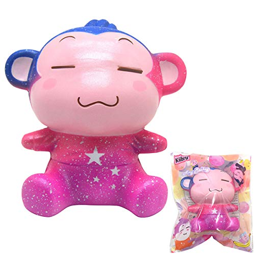 Kiibru Squishies Amy Monkey Slow Rising Toys Scented Cartoon Soft Stress Relief Kwaii Gifts (Rainbow) -