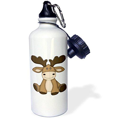 - 3dRose Cute Sitting Moose Illustration-Sports Water Bottle, 21oz (wb_211135_1), 21 oz, Multicolored
