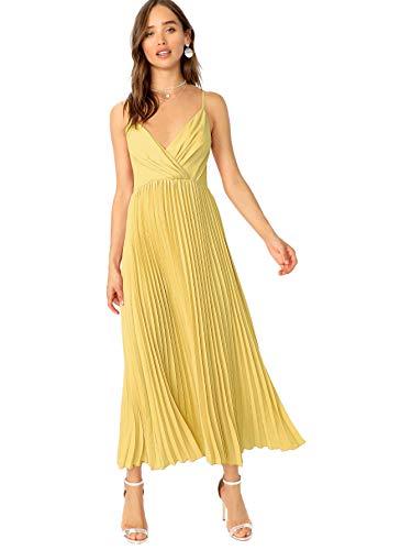 (Verdusa Women's Surplice Neck Pleated Cami Dress Yellow XS)