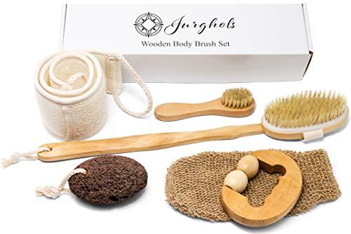 6 Pcs Premium Boar Bristle Shower Brush Set - Dry Brushing Set, Facial Brush, Bath Brush with a long detachable wooden handle, Back Scrubber Belt, Pumice Stone, Bath Mitt and Wooden Roller Massager.