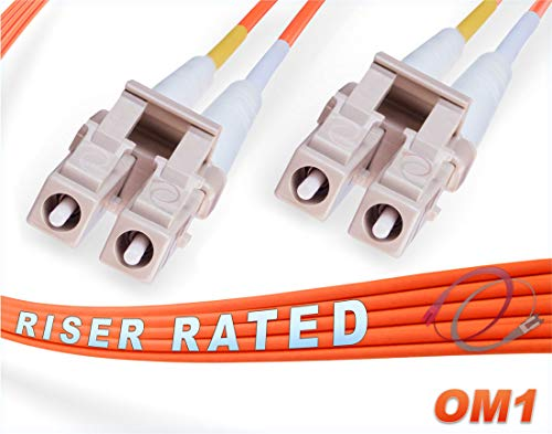 FiberCablesDirect - 15M OM1 LC LC Fiber Patch Cable | 1Gb Duplex 62.5/125 LC to LC Multimode Jumper 15 Meter (49.21ft) | Length Options: 0.5M - 300M | 1gb 10gb lc-lc mmf lc-upc sfp 1gbase mmd pvc ofnr ()