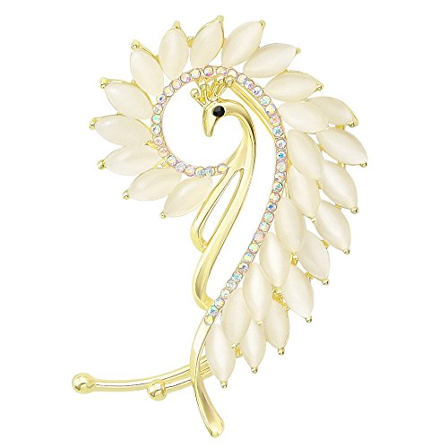 Fashion Women Gold-Tone Crystal Art Deco Peacock Left Side Ear Cuff Earrings Non Pierced Ears Wrap White ()