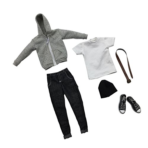 MonkeyJack 1/6 Scale Action Figure Clothes Gray Hoodie T-shirt Jeans Shoes Full Set Accessories (12' Full Action Figure)