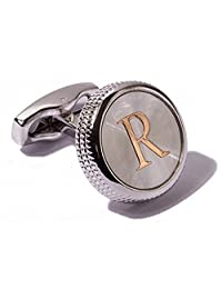 Men's 2PCS Fashion Dazzle Tuxedo Shirts Cufflinks Platinum Plated Cuff Button Alphabet Letter A-Z