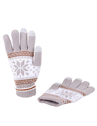 [10STAR11 Women's Winter Warm Fleece Touch Screen Technology Gloves GRAY,O] (Pixel Gloves)