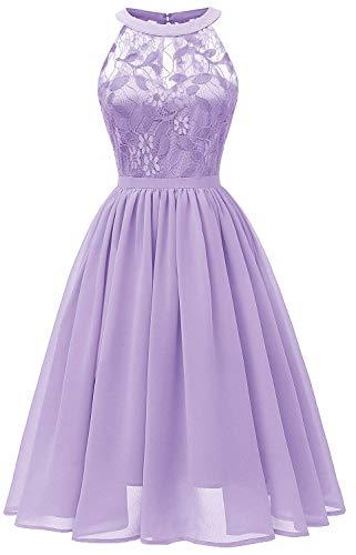 Women Sleeveless Halter Lace Bridesmaid Prom Party Dress F10 (Purple, M)