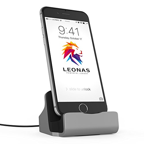 Leonas® Apple Iphone 7 6 6S SE Caricatore docking station in argento