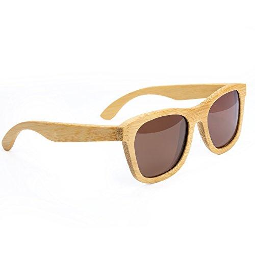 Sol De Marrón Hombre UV400 Retro Para Unisex Mujer Con De Gafas De Bambu Caja De Sol HBselect Gafa Polarizadas Madera YHcwtIqHA