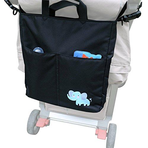 ZEEUPAI - Bolsa bandolera para paderes Organizador multifuncional para cochecito carro de bebé (Negro - Elefante) Negro - Elefante