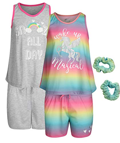 (Sleep On It Girls 4-Piece Pajama Tank Top and Short Set with Matching Scrunchies (2 Full Sets), Unicorn, Size 7-8')