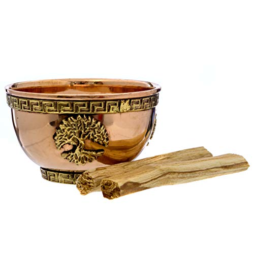 Alternative Imagination Tree of Life Copper Offering Bowl Kit. Includes Sand and Palo Santo