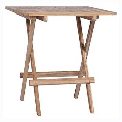 "HomyDelight Outdoor Table, Folding Bistro Table Solid Teak 23.6""x23.6""x25.6"""