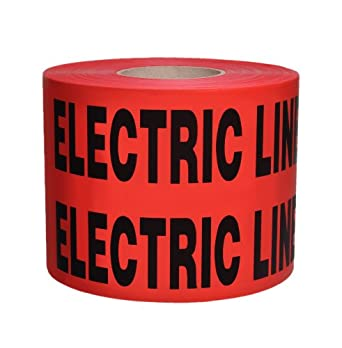 "Presco B6104R6-658 1000' Length x 6"" Width x 4 mil Thick, Polyethylene, Red with Black Ink Non-Detectable Underground Warning Tape, Legend ""Caution Buried Electric Line Below"" (Pack of 4)"