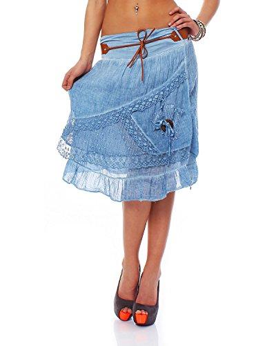 ZARMEXX mi-longues femmes jupe en coton jupe en couches regard avec ceinture jupe courte en dentelle  lacets Tulle (Taille unique, 36-40) Jeans Bleu