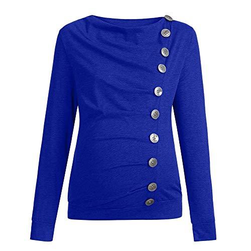 Liz Lange Maternity Top - BOLUOYI Maternity Gym Clothes Women Nursing Maternity Long Sleeve Cowl Neck Buttons Tunic Top T-Shirt Clothes Blue XXL