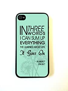 iPhone 4 Case Silicone Case Protective iPhone 4/4s Case Robert Frost Quote It Goes On Turquoise Dandelions