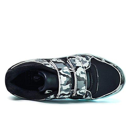 DoGeek Enfant LED Chaussure 7 couleurs Baskets Lumineuse Filles Garçon Chargeur USB Chaussure Lumineuse (34, black)