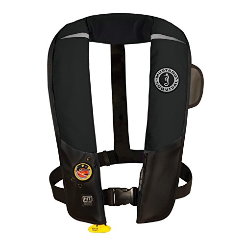 Mustang Survival Corp Inflatable PFD with HIT (Auto Hydrostatic) and Bright Fluorescent Inflation Cell, Black by Mustang Survival