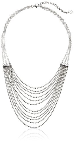 Italian Rhodium-Plated Silver Multi-Strand Diamond Cut Bead Necklace, 18'' by Amazon Collection
