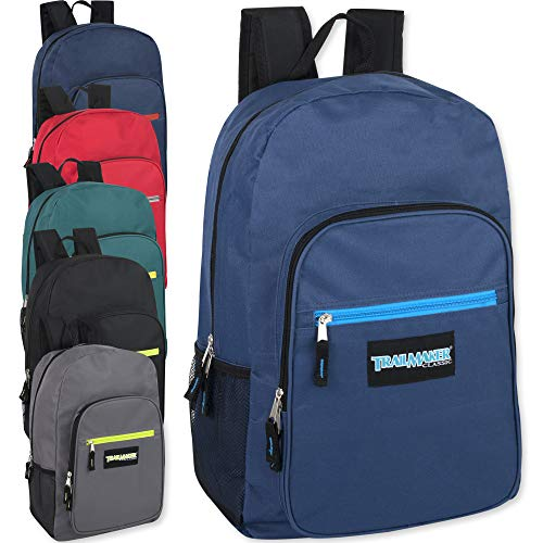 19 Inch Deluxe Backpacks With Padded Straps Wholesale Bulk Case Pack Of 24 (6 Color Assortment) ()