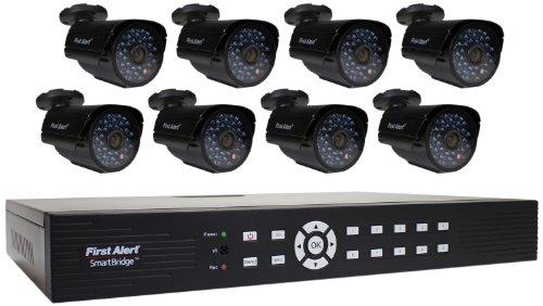 First-Alert-SmartBridge-DCA16810-520-16-Channel-Security-System-with-1TB-Hard-Drive-and-8-Hi-Res-Video-Camera-with-10-Inch-LCD-Black