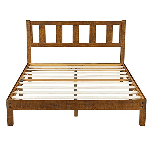 Ecos Living 14 Inch High Rustic Solid Wood Platform Bed Frame with Headboard/No Box Spring/No Squeak, Dark Brown, King
